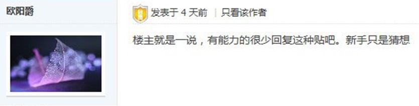 """▲ 번역 """"게시글 작성자는 그냥 해본 말인듯 싶다. 실력자들은 이런 글에 대해 댓글을 달지 않는다."""""""