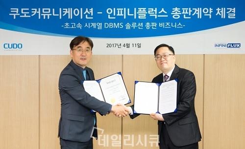 ▲ 쿠도커뮤니케이션 박기훈 대표(왼쪽),인피니플럭스 김성진 대표(오른쪽)
