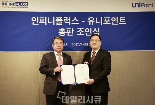 ▲ 유니포인트 안국필 사장(왼쪽), 인피니플럭스 김성진 대표(오른쪽)