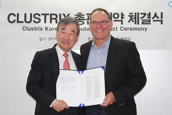 ▲ 락플레이스 서동식 대표이사(왼쪽), 클러스트릭스  마이크 아제베도 CEO(오른쪽)