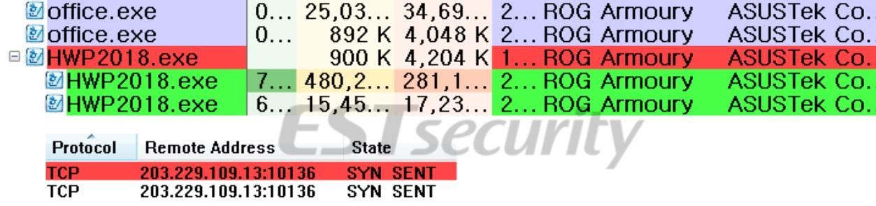 ▲ 악성파일이 실행되어 명령제어 서버와 통신하는 화면. 이스트시큐리티.