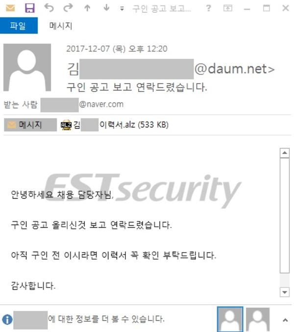 ▲ 채용 구직 이메일로 위장한 스피어 피싱용 이메일. 이스트시큐리티 제공.