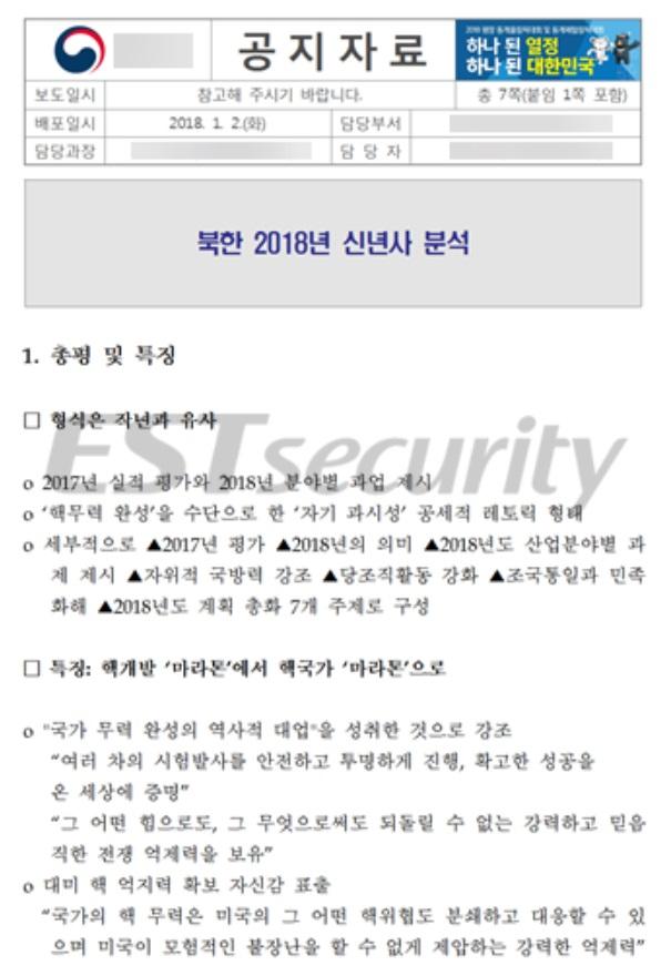 ▲ 북한 2018년 신년사 분석으로 위장한 악성파일 실행 화면