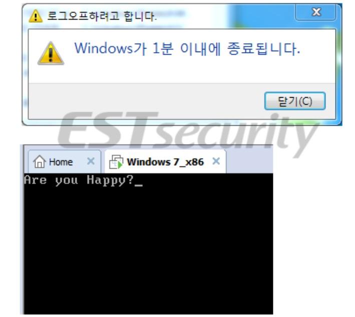 ▲ VMwre 환경에서 강제종료 및 MBR 파괴 후 보여지는 메시지 화면