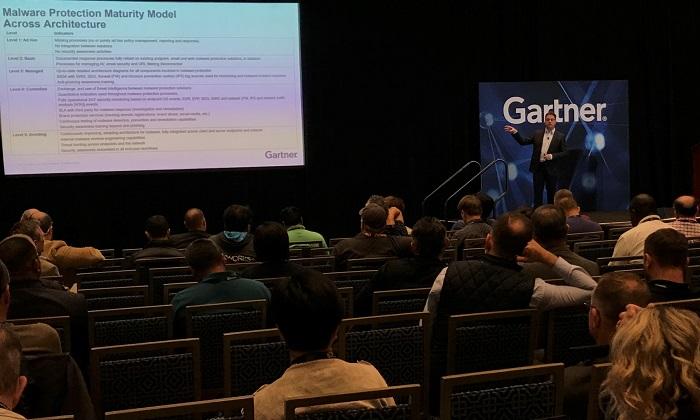 ▲ 가트너 서밋 2018에서 가트너 리서치 부사장 마리오 드 보어(Mario de Boer)가 'How to Architect Malware Protection'이란 주제로 강연을 진행하고 있다. [데일리시큐=워싱턴DC]