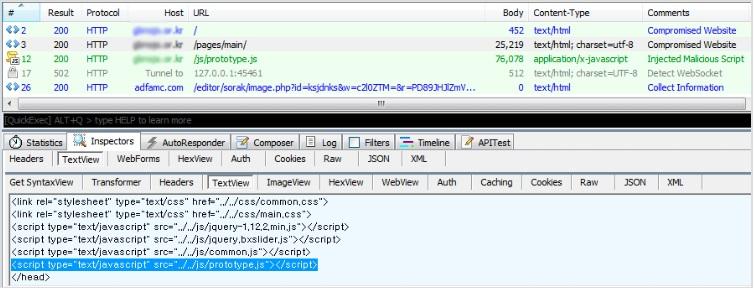 ▲ 정보를 수집하는 악성 스크립트가 주입되어 손상된 웹사이트. 트렌드마이크로 제공.