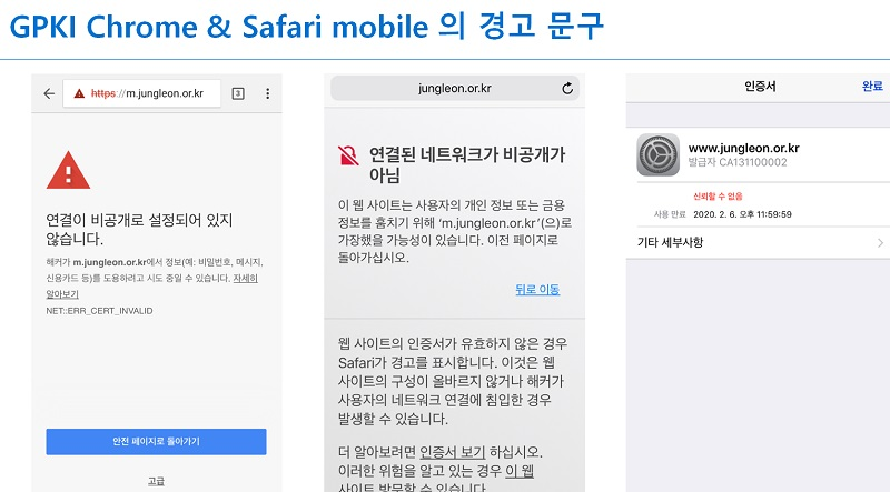 ▲ GPKI Chrome & Safari mobile 의 경고 문구 이미지. 글로벌 기업들은 공공기관 웹사이트는 의무적으로 EV 인증서를 적용하도록 하고 있다.