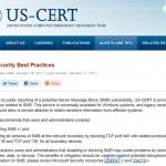 US-CERT, SMB 취약점 제로데이 공격 경고